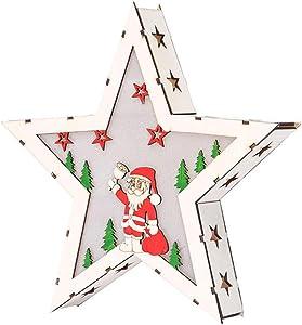 BBsmile Iluminación de Navidad Lámpara de navidad Luces led de navidad Casa de madera adornos de vacaciones Decoración de la habitación