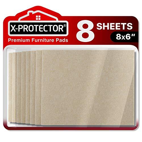 Feltrini adesivi X-PROTECTOR – 8 Feltrini per mobili di 5mm – Migliore kit feltrini – Kit feltrini beige – Feltrini divano e altri mobili – Top feltrini resistenti per fissare i mobili contro i danni.