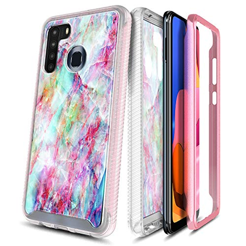 E-Began Galaxy A21 Case with Built-in Screen Protector, Full-Body Protective Rugged Matte Bumper Cover, Marble Design, Shockproof Impact Resist Durable Phone Case for Samsung Galaxy A21 -Fantasy