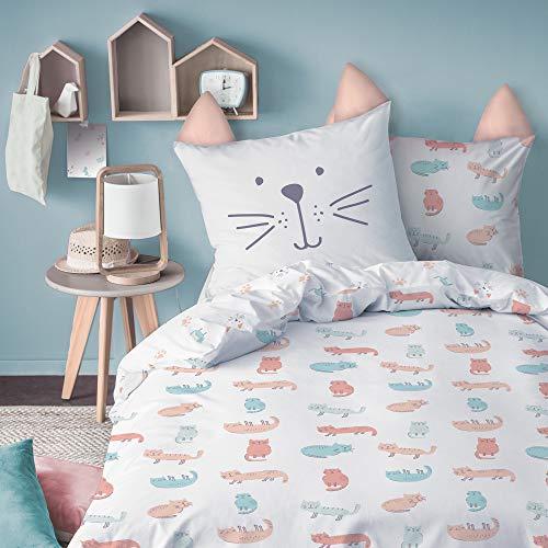 MATT & ROSE - Miaou Parure Enfant Chat 100% Coton, Housse de Couette 140X200cm + taie d'oreiller avec Petites Oreilles 63X63cm.