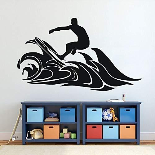 yaonuli Surf Boy Wave Silhouette Wandaufkleber Dekoration Schlafzimmer Surf Vinyl Wandtattoo Urlaub 54x68cm