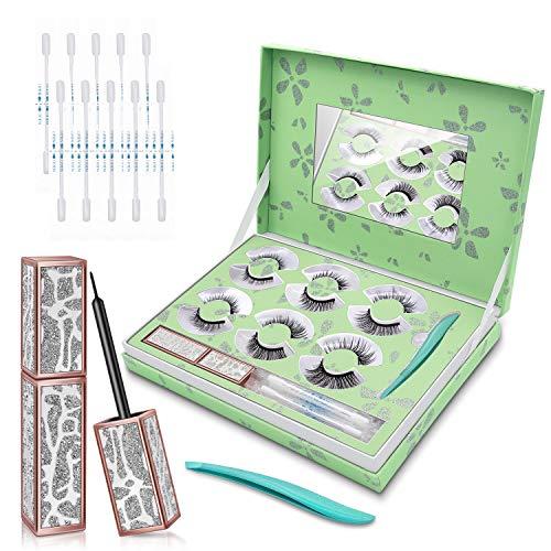 Bamoer Pestañas Magneticas Delineador de ojos magnético 6 pestañas magnéticas con delineador de ojos magnético resistente al agua de larga duración Pestañas magnéticas falsas reutilizables