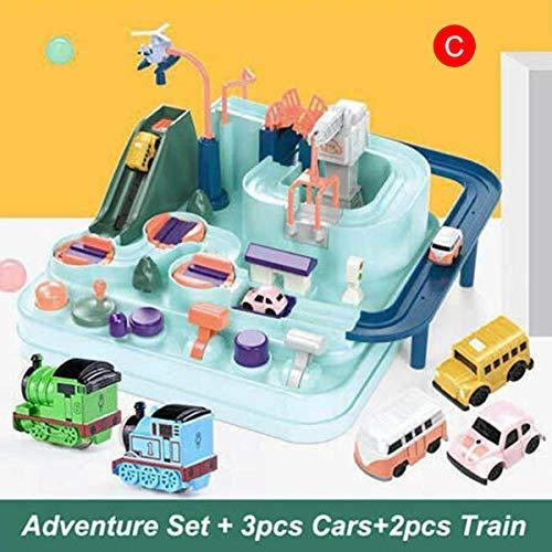 ECOSWAY Carte Secours Équipe Aventure Train Track Set Course Jouets Cadeaux pour Enfants Garçons - A