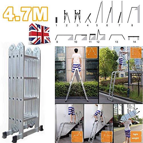 Escalera plegable de 4,7 millones de Altas Prestaciones 14 en 1 Multi-Posición multiuso escalera de aluminio con la herramienta de la bandeja de carga máxima de 150 kg antideslizante de bloqueo de seg