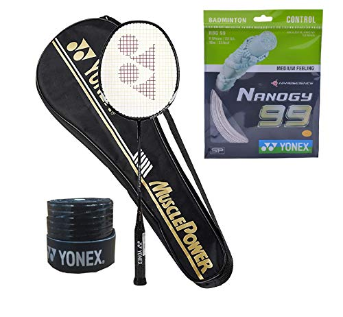 Yonex Muscle Power 29 Badminton Racquet (G4-88g) & Full Cover with Nanogy 99 Microfiber String 1Grip