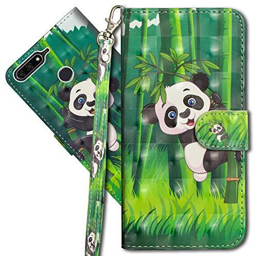 MRSTER Huawei Y6 2018 Handytasche, Leder Schutzhülle Brieftasche Hülle Flip Hülle 3D Muster Cover mit Kartenfach Magnet Tasche Handyhüllen für Huawei Y6 2018 / Honor 7A. YX 3D - Panda Bamboo