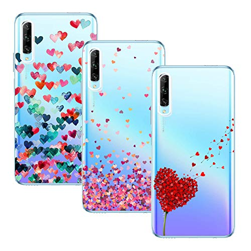 Young & Ming Cover Huawei P Smart PRO/Honor 9X PRO, (3 Pack) Morbido Trasparente Silicone Custodie Protettivo TPU Gel Case, Amore