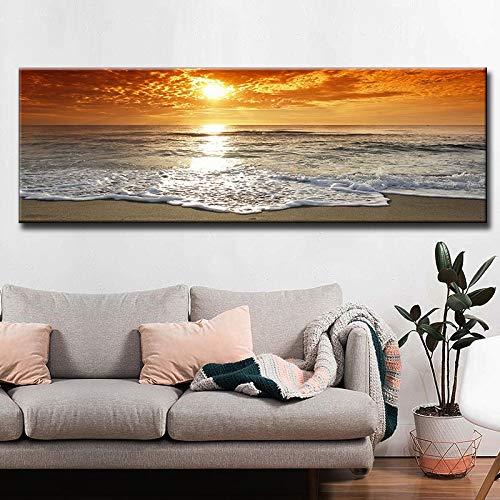 ganlanshu Puesta de Sol Naturaleza mar Playa Paisaje Cartel Lienzo Panorama escandinavo Arte de la Pared,Pintura sin Marco,30x90cm