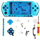Game Console Case for PSP 3000, Full Housing Shell with Screwdriver,Simple Design, Compact, Lightweight,Easy to Carry,5 Color (Blue)