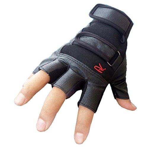 SUCES Handschuhe Männer Taktisch Fäustling Männer Draussen Sport Fahrradhandschuhe Leder Halb Finger Handschuhe Mountainbike Handschuhe Trainingshandschuhe (Freie Größe, Schwarz)