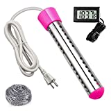 Immersion Heater,Portable Electric Submersible Heating Instant Hot Water Heater with Metal Guard Cover to Heat 5 Gallons of Water in Minutes,Great for Small Bath Tub(Pink)