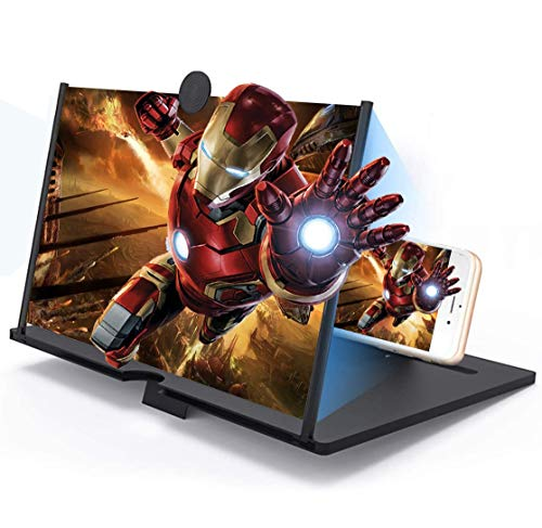 12' Screen Magnifier –3D HD Mobile Phone Magnifier Projector Screen for Movies, Videos, and Gaming–Foldable Phone Stand with Screen Amplifier–Supports All Smartphones