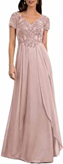 Sponsored Ad - Mother of The Bride Dresses Short Sleeve Lace Chiffon Bridesmaid V Neck Formal Evening Gowns Party Dresses ...