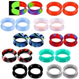 COCHARM 20 PCS Thin Silicone Ear Plugs Tunnels Double Flared Flexible Tunnel Ear Stretching Plug Gauge Body Piercing Jewelry 1/2'(12MM)