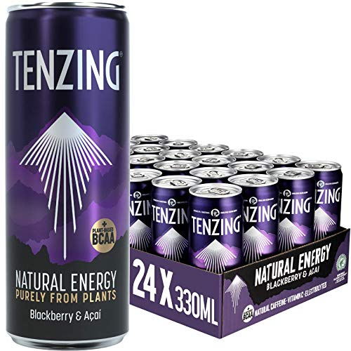 TENZING Natural Energy Drink, Plant Based, Vegan, & Gluten Free Drink, +BCAA, BlackBerry & Acai, 330ml (Pack of 24)