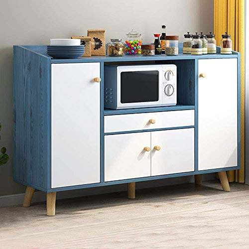 PBPKING Kitchen Sideboard Cabinet with Drawer Buffet Cabinet with Storage Dining Room Buffet Cabinet with Doors (Blue)