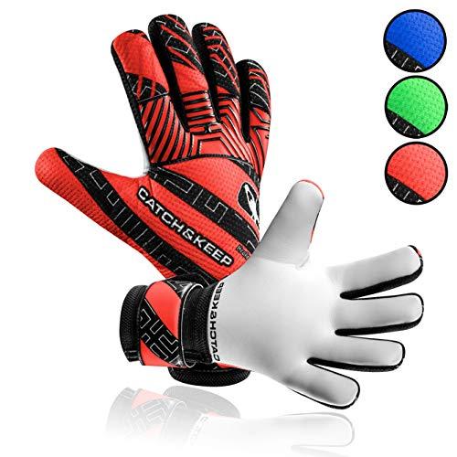 CATCH & KEEP® Kralle Junior PRO - Premium Torwarthandschuhe für Kinder - Tormannhandschuhe mit extra starkem Grip (Rot, 6)