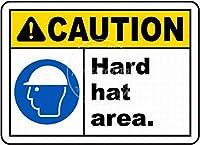 注意ハード帽子領域 メタルポスタレトロなポスタ安全標識壁パネル ティンサイン注意看板壁掛けプレート警告サイン絵図ショップ食料品ショッピングモールパーキングバークラブカフェレストラントイレ公共の場ギフト