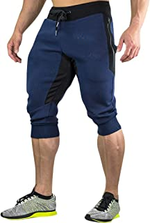 Men's 3/4 Joggers Pants Workout Gym Capri Shorts Zipper Pockets