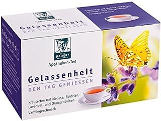 BADERs Apotheken-Tee Gelassenheit. Kräutertee mit Lavendel, Baldrian und Melisse. Den Tag genießen, in der Nacht gut schlafen. 20 Filterbeutel. PZN 09738486