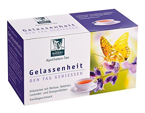 BADERs Apotheken Tee Gelassenheit Lavendel Baldrian Melisse. Den Tag genießen, in der Nacht gut schlafen. 20 Filterbeutel. PZN 09738486