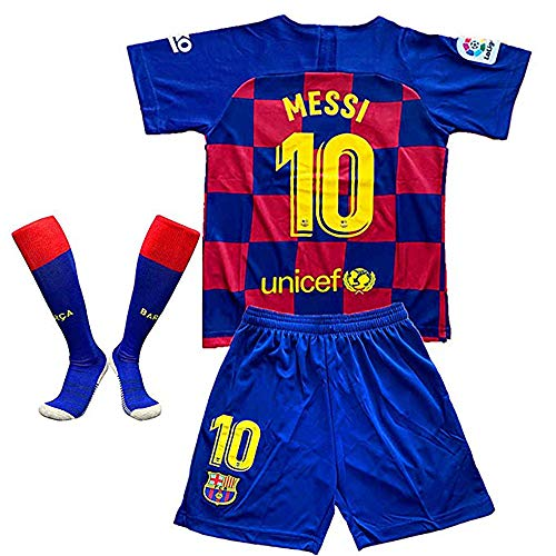 MGGALY Messi #10 Barcelona Home 2019/2020 Season Kids Youth Sport T-Shirts & Shorts & Socks (11-12Year/Size26) Red/Blue