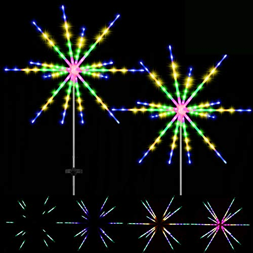 Solar Starburst Firework Lights 112 LED Decorative Star Lights Waterproof Firework Fairy String Lights with 8-Mode Flashing for Gardens Christmas Party (Multi-Colored, 2)