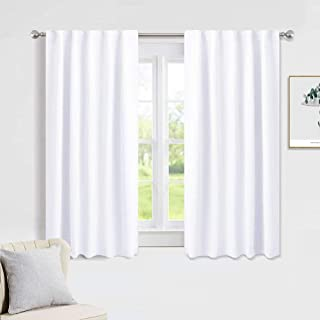 PONY DANCE Window Curtains Drapes - White Panels Short Drapes Back Tab/Rod Pocket Window Treatments Curtain Blinds Home Decoration for Kitchen Bedroom, W 42 by L 45 inch, Pure White, 2 PCs