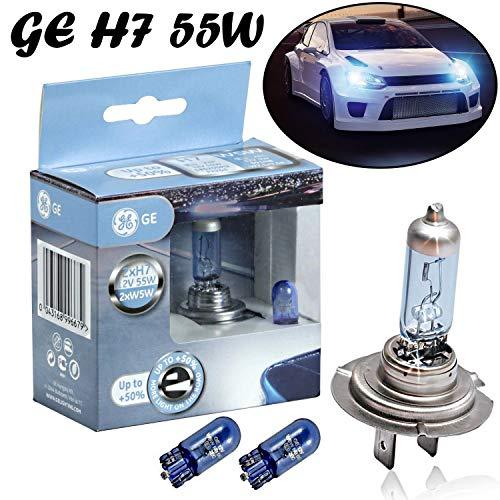 2x General Electric GE Sportlight Ultra +50% H7 55W 12V 58520SPU+W5W Blau - Weiß Ersatz Halogen Birne für Scheinwerfer, Fernlicht, Abblendlicht, Nebelleuchte vorne + 2x W5W blau - E-geprüft