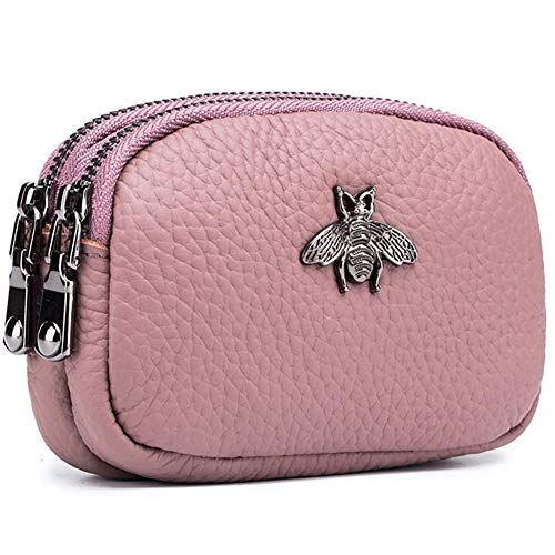 Portamonete da donna in vera pelle - Doppia cerniera Bee Change Pouch Portafoglio Porta carte Portamonete Mini Semplice portamonete carino (Rose)