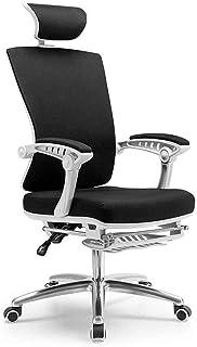 Lyenhu Silla de Oficina ergonómica con reposapiés y Ruedas, sillas de Escritorio de Ordenador con Ruedas, y cómodo 360 Silla giratoria de Altura Regulable (Negro)