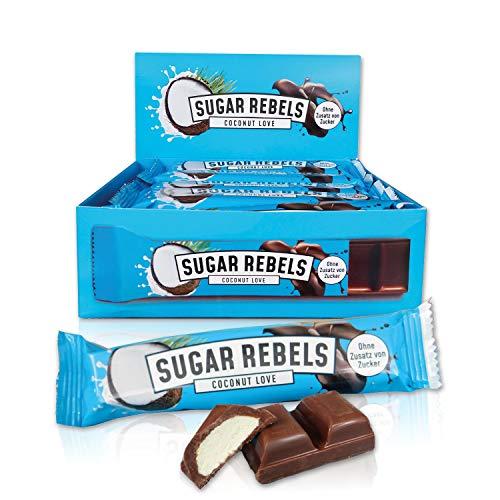 SUGAR REBELS Coconut Love Box - 20 Schokoladen Riegel - ohne Zusatz von Zucker | Kokoscreme mit belgischer Vollmilchschokolade | Süßigkeiten Schokoladen Großpackung 20x35g Schokoriegel ketogene