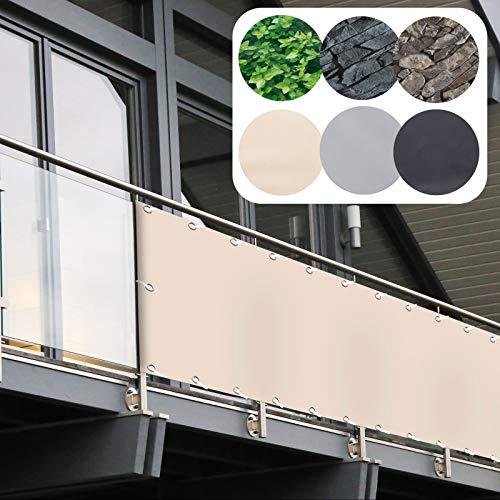 casa pura Frangivista Balcone Ombreggiante - Copri Ringhiera Balcone, Protezione Anti-UV | Recinzioni Decorative in Vari Design - 90x600 cm - Beige