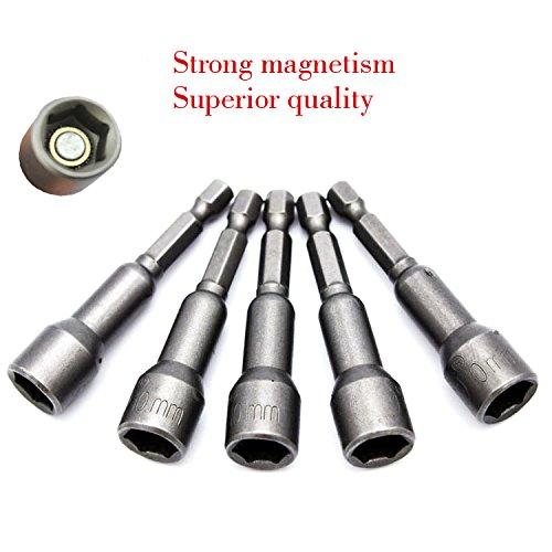 5 pcs professionnel magnétique Hex Socket manches 1/10,2 cm Hex adaptateur 8 mm ~ 12 mm Tournevis à frapper Accessoires