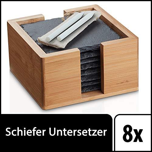 Sir Finley Monkey Schiefer Untersetzer Set für Gläser mit Halter (quadratisch), 8 Glasuntersetzer eckig zum beschriften, Coaster 10x10 cm schwarz