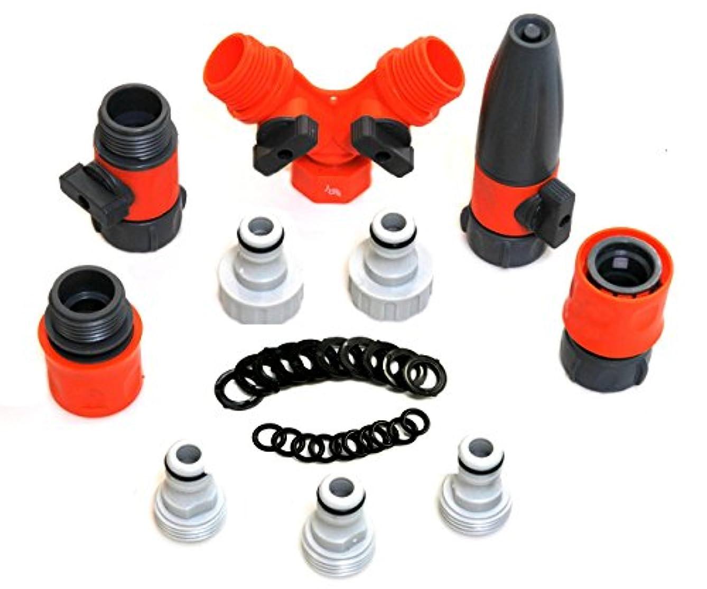 RAAYA Garden Hose/Quick Connectors Set: Garden Hose Nozzle, Hose Splitter - with Shut Off Valve, 20 Rubber Washers, for: Outdoor Soaker, Sprinkler, Drip Irrigation Systems - Best Value Bundle