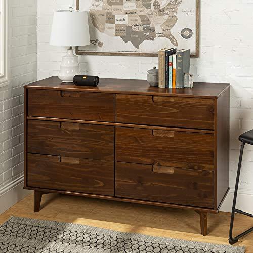 Walker Edison Furniture Company Mid Century Modern Grooved Handle Wood Dresser Bedroom Storage Drawer Organizer Closet Hallway, 6, Walnut Brown