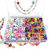 Bead Kids Set for Jewelery Making - Craft Beads Kits for Little Girls DIY Necklaces Bracelet Children Games,Gift for Kids. Jewelry Beads for Kids,Craft Bead Kit(color4),HUATK