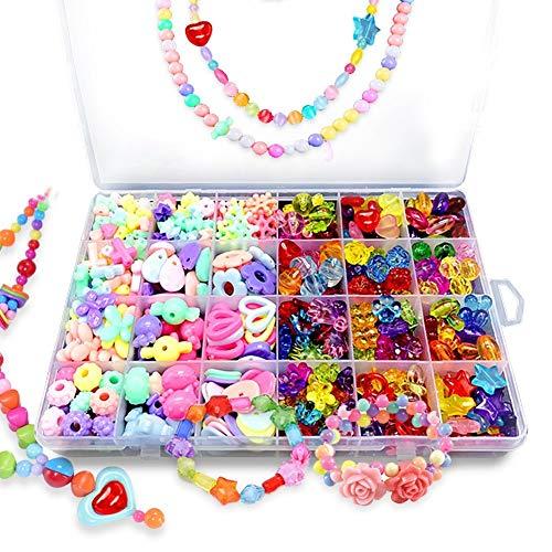 Bead Kids Set for Jewelery Making - Craft Beads Kits for Little Girls DIY Necklaces Bracelet Children Games,Gift for Kids. Jewelry Beads for Kids?Craft Bead Kit(color4),HUATK