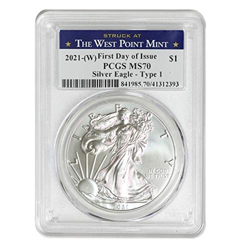 2021 (W) 1 oz American Silver Eagle Coin MS70 (Heraldic Eagle T-1 - First Day of Issue - Struck at The West Point Mint) by CoinFolio $1 MS-70 PCGS