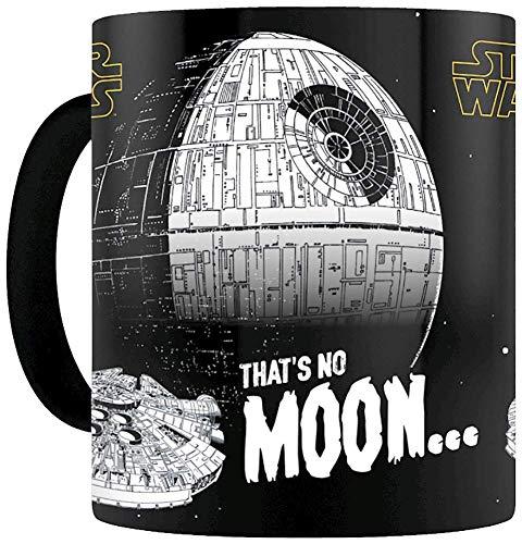 Star Wars Thermoeffekt- Tasse That\'s No Moon... blau, bedruckt, aus 100{0fd97cfc155aa58f43387cefb179564a8c5b0148213dc64185439ceca2b06c4f} Keramik, Fassungsvermögen ca. 315 ml..
