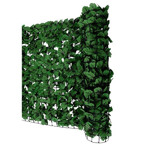 Mendler Balkonsichtschutz N77, Sichtschutz Windschutz Verkleidung für Balkon Terrasse Zaun - 300x100cm Blatt dunkel
