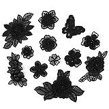 XUNHUI - Parche de tul con cuentas para bordar, diseño floral, color negro, para vestidos de novia, vestidos de costura, ropa, disfraces, decoración, 1 juego de 12 unidades