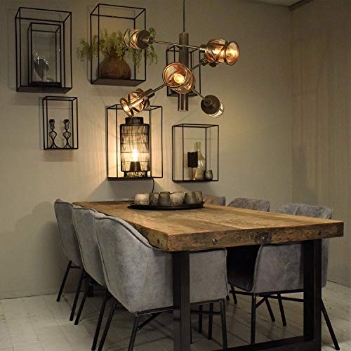 ZMH lampada a sospensione industriale tavolo da pranzo in vetro e ferro soggiorno lampadario vintage 6 luci E14 lampada a sospensione soggiorno ristorante sala da pranzo sala balcone