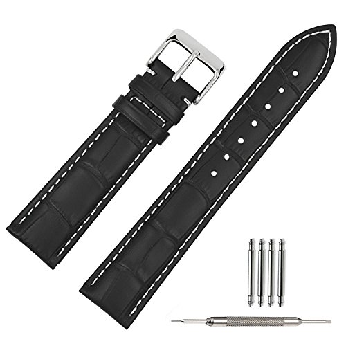 TStrap Uhrenarmband 24mm - Leder Armband Herren - Lederarmband Uhrenband mit Edelstahl Dornschließe - 14mm 16mm 18mm 19mm 20mm 21mm 22mm 23mm
