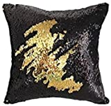 Black and Gold Sequin Pillow, MOCOFO Reversible Glitter Sequins Cover Magic Mermaid Fish Pillowcase Parkly Fun Flip Throw Pillow Cover Couch Cute Color Changing Decor Cushion Covers for Sofa16X16