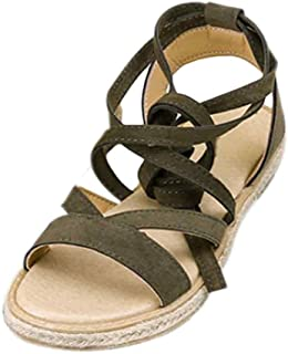 Fulision Female Bohemian Style Lacing Solid Color Flat Thicken Bottom Sandals