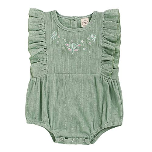 YOUNGER TREE Kids Newborn Infant Baby Girls Jumpsuit Romper Outfits Floral Print Buttons Ruffles Bodysuit Summer Clothes (Light Green, 12-18 Months)