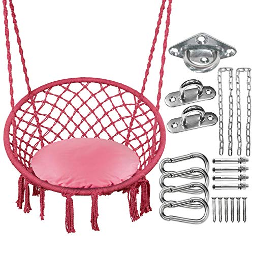 Greenstell Hammock Chair,Max 330 Lbs Macrame Swing with Cushion and Hanging Hardware Kits,Hanging...
