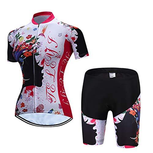 X-Labor - Conjunto de maillot de ciclismo para mujer de secado rápido, manga corta + pantalones de ciclismo con acolchado 3D para asiento de bicicleta MTB, Mujer, Diseño D., EU L (Tag:XL)